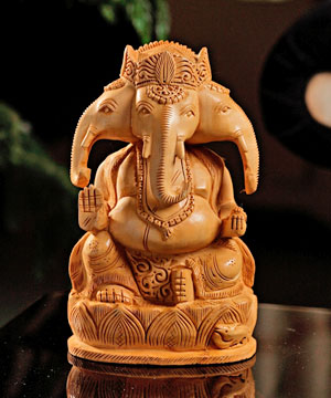 Well Carved Wooden Ganesha
