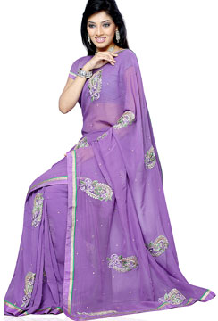 Georgette Sarees-Lavender Embroidery Georgette Saree