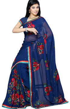 Georgette Sarees-Navy Blue Georgette Handwork Saree