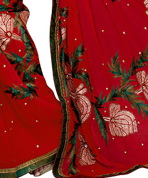 Georgette Sarees-Scarlet Red Handwork Georgette Saree