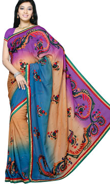 Georgette Sarees-Purple and Brown Shaded Handwork Saree