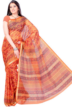 Deep Carrot Orange Block Print Cotton Silk Saree