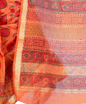 Cotton Silk Saree-Deep Carrot Orange Block Print Cotton Silk Saree