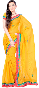 Sunglow Yellow Zari Brocade Kota Saree