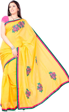 Golden Yellow Hand Embroidered Kota Saree