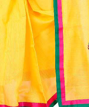 Cotton Sarees-Golden Yellow Hand Embroidered Kota Saree