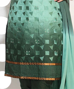 Dress Material-Double Shaded Green Embroidered Suit