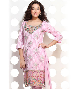 Dress Material-Carnation Pink Cotton Jacquard Embroidered Suit