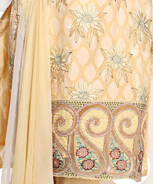 Dress Material-Lemon Yellow Cotton Jacquard Embroidered Suit