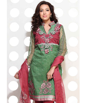 Dress Material-Green Self Print Embroidered Suit