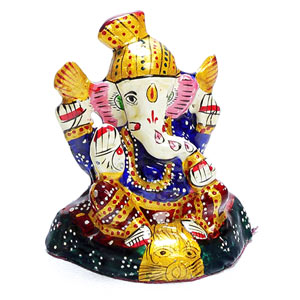 Metal Idols-Hand Painted Enamelled Metal Turban Lord Ganesha Figurine