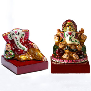 Metal Idols-Sankatahara Ganapati Set Made in Enamelled Metal