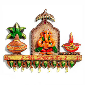 Ganapati Kalash and Diya Wood and Clay Wall Decor