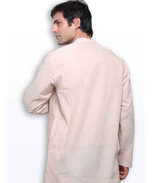 Kurtas-Vanilla Cream Handloom Cotton Kurta
