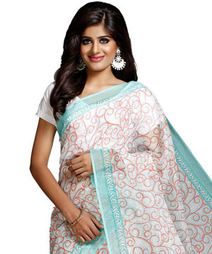 Cotton Sarees-Off White Green Block Printed Kota Doria Saree