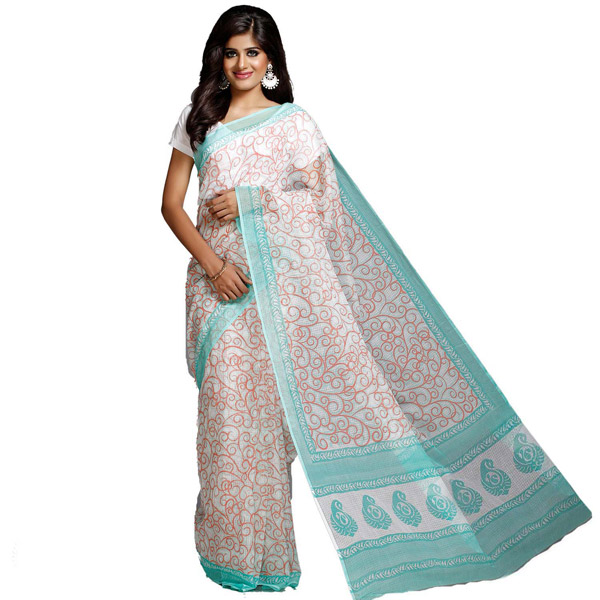 Off White Green Block Printed Kota Doria Saree