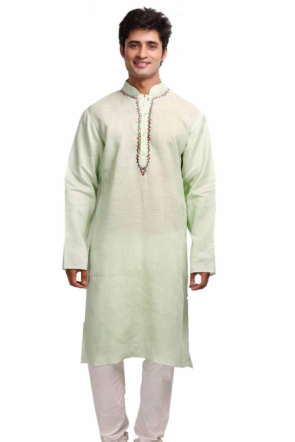 Mint Green Linen Kurta with Embroidered Neck Line and Back