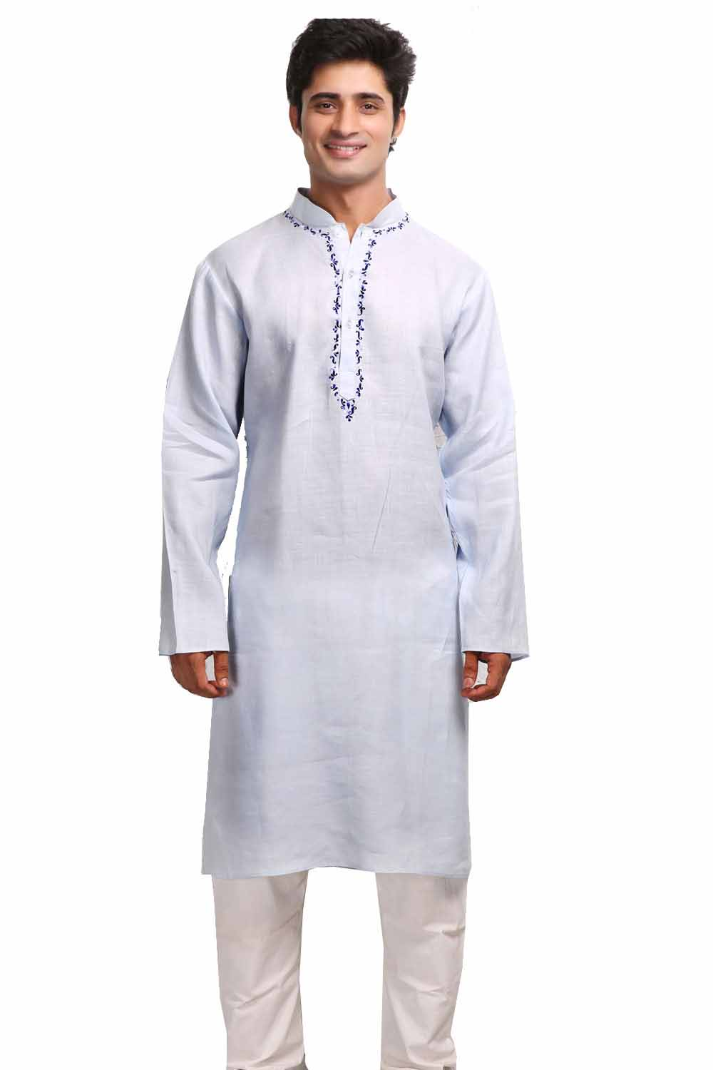 Periwinkle Blue Resham Embroidered Linen Kurta