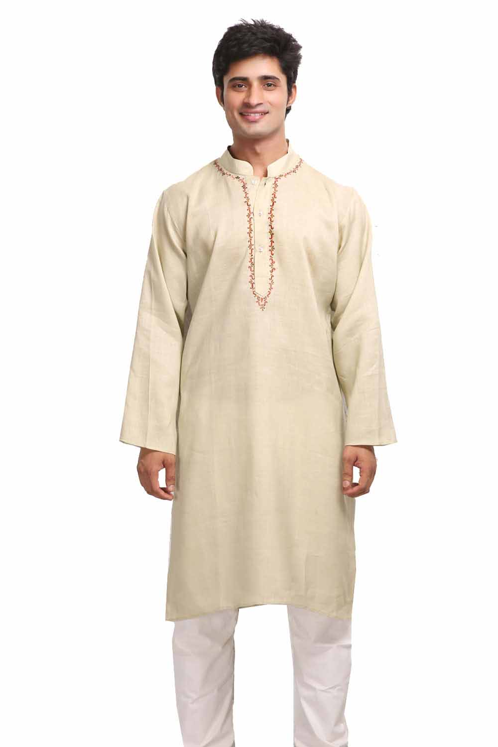 Beige Yellow Pure Linen Kurta with Resham Embroidery
