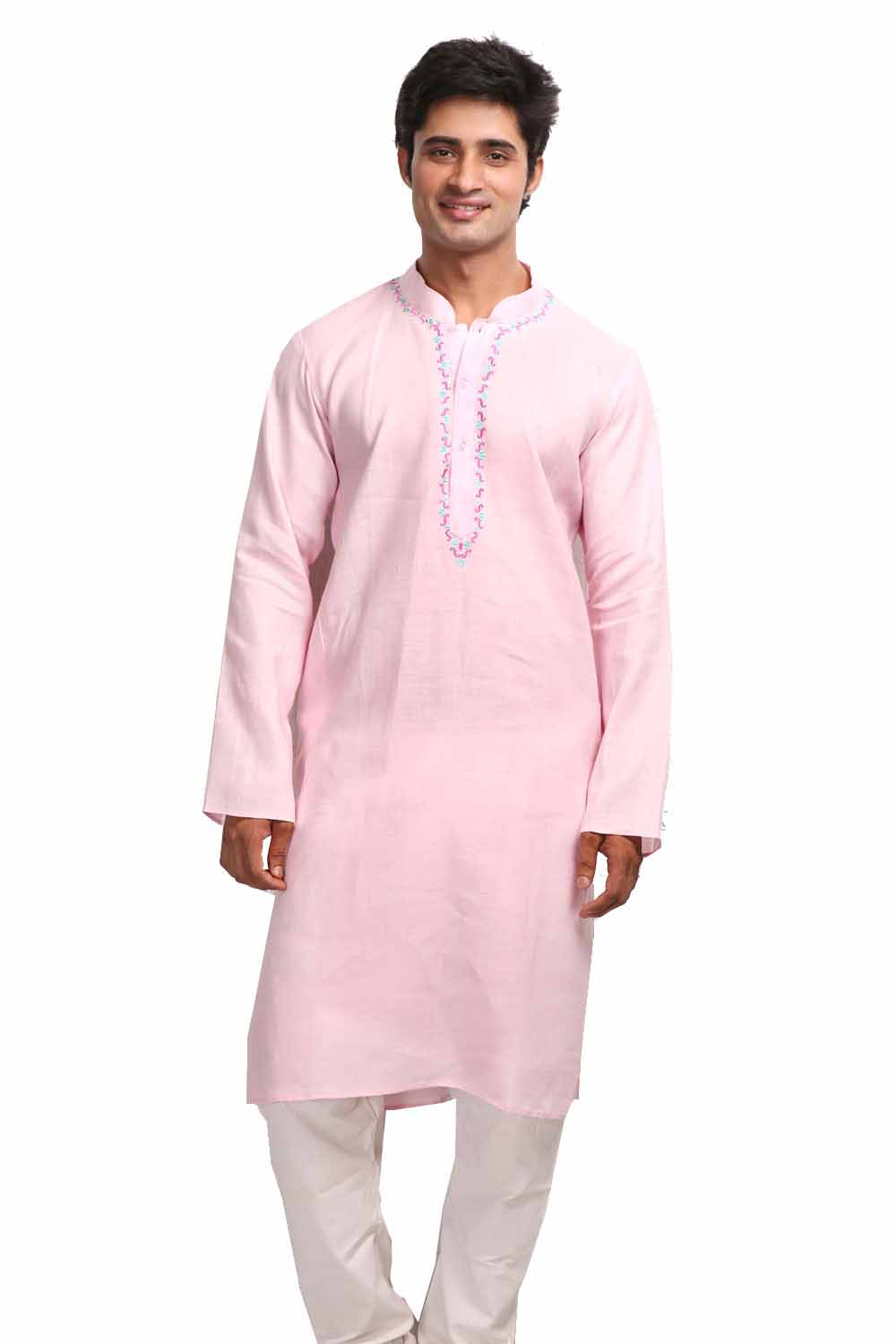 Lavender Blush Long Sleeves Linen Kurta with Resham Embroidery