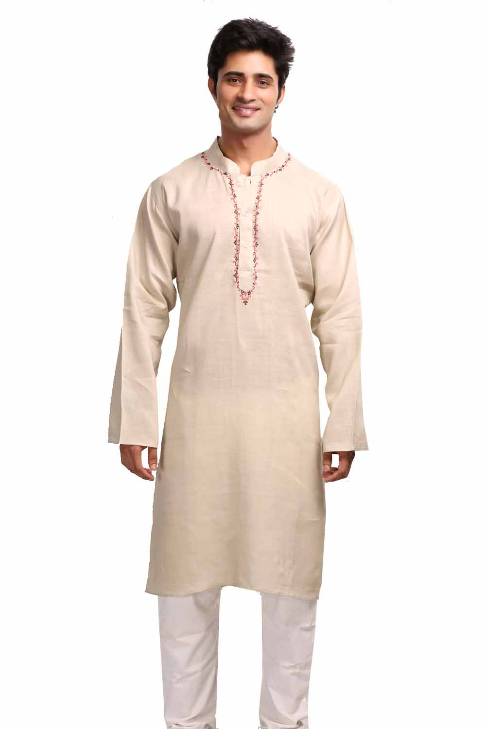 Earthen Beige Long Sleeves Linen Kurta with Resham Embroidery