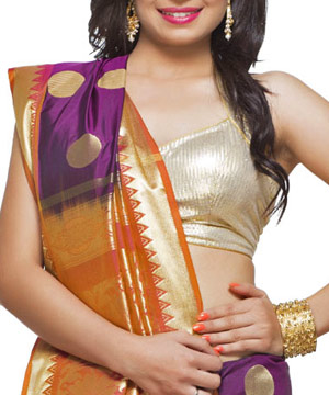 Art Silk Sarees-Violet, Orange and Gold Exquisite Silk Saree with Rich Zari Pallu