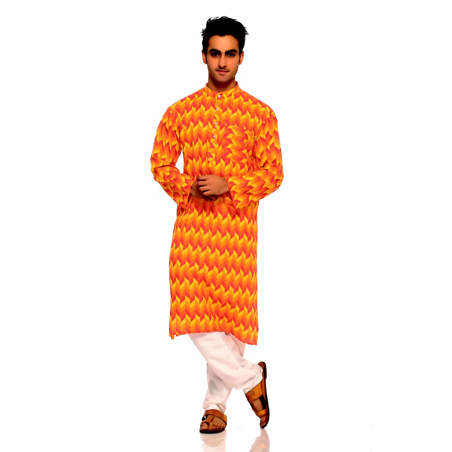 Orange and Yellow Herringbone Design Pure Cotton Kurta