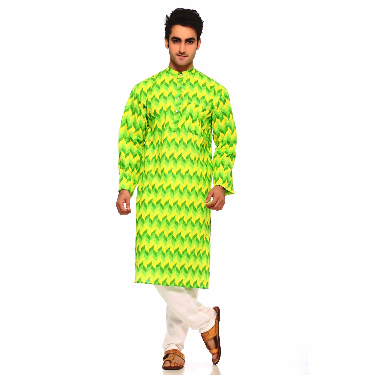 Green and Yellow Rapid Print Design Pure Cotton Kurta