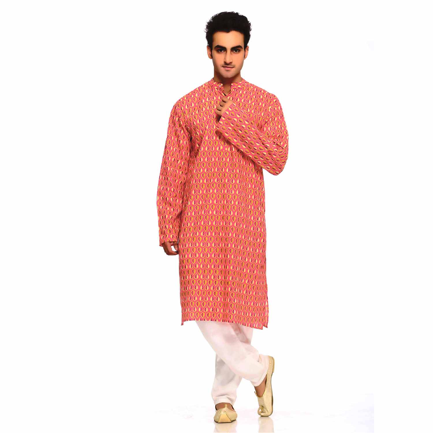 Tea Rose Red Pure Cotton Kurta with Pigment Print