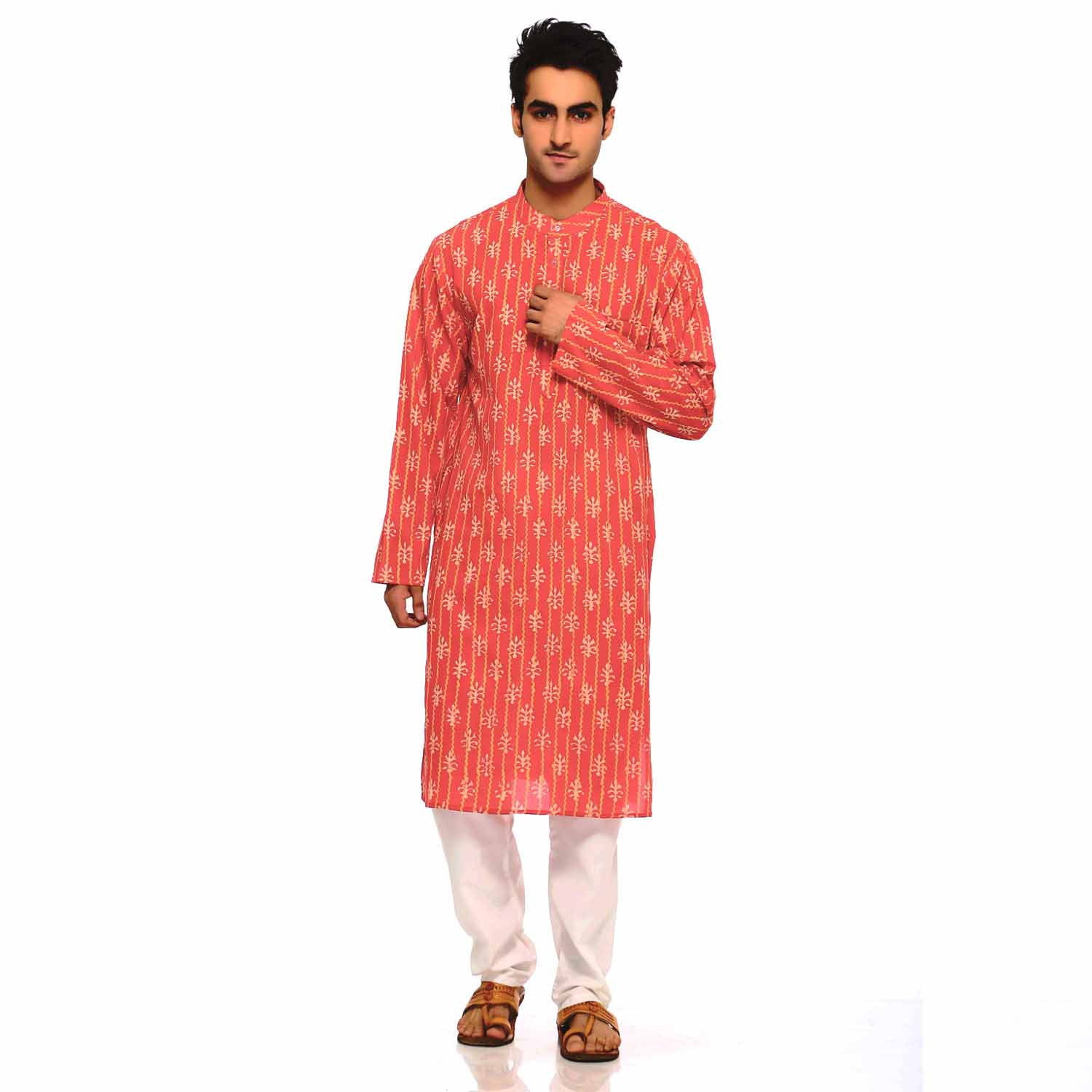 Daboo Block Print Pure Cotton Kurta in Tangelo and White