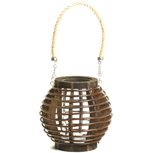 Candles & Candle Stands-Brown Basket Design Lantern with Rope Handle