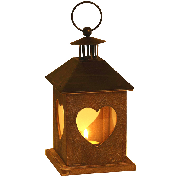 Grey Metal Square Lantern with Ring