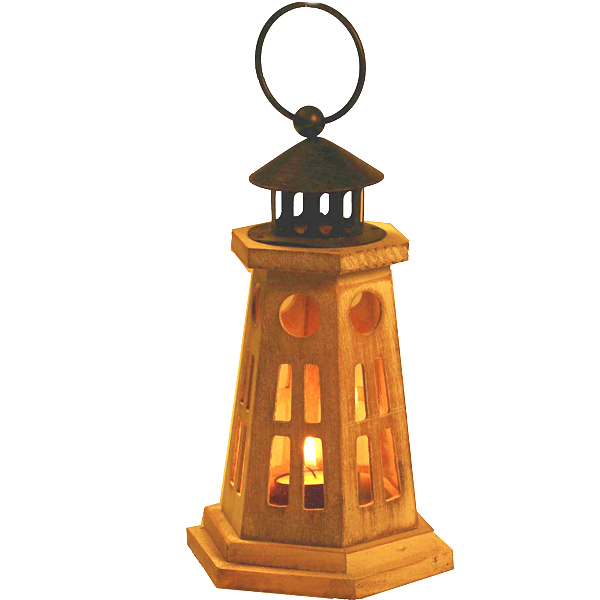 Candles & Candle Stands-Light House Design Lantern Made in Wood
