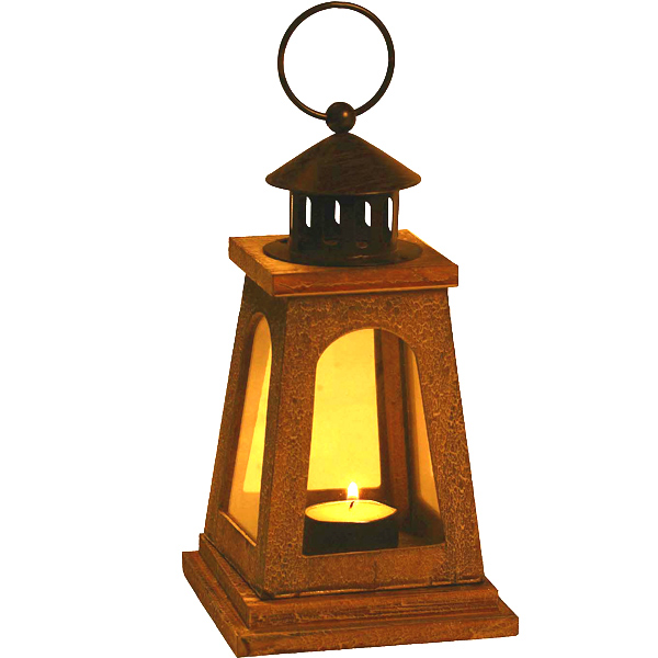 Candles & Candle Stands-Natural Finish Square Lantern with Wood Grain Finish