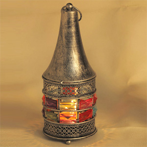 Candles & Candle Stands-Conical Gun Metal Tea Light Holder with Rosy Silver Finish