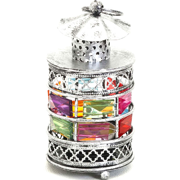 Rustic Silver Tone Gun Metal Tea Light Holder with Color Stones