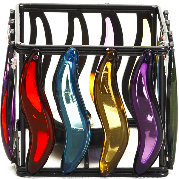 Multi Color Glass Panes Square Wrought Iron Tea Light Holder