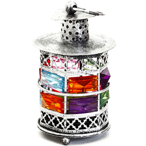 Candles & Candle Stands-Rustic Silver Tone Metal Tea Light Holder with Color Stones