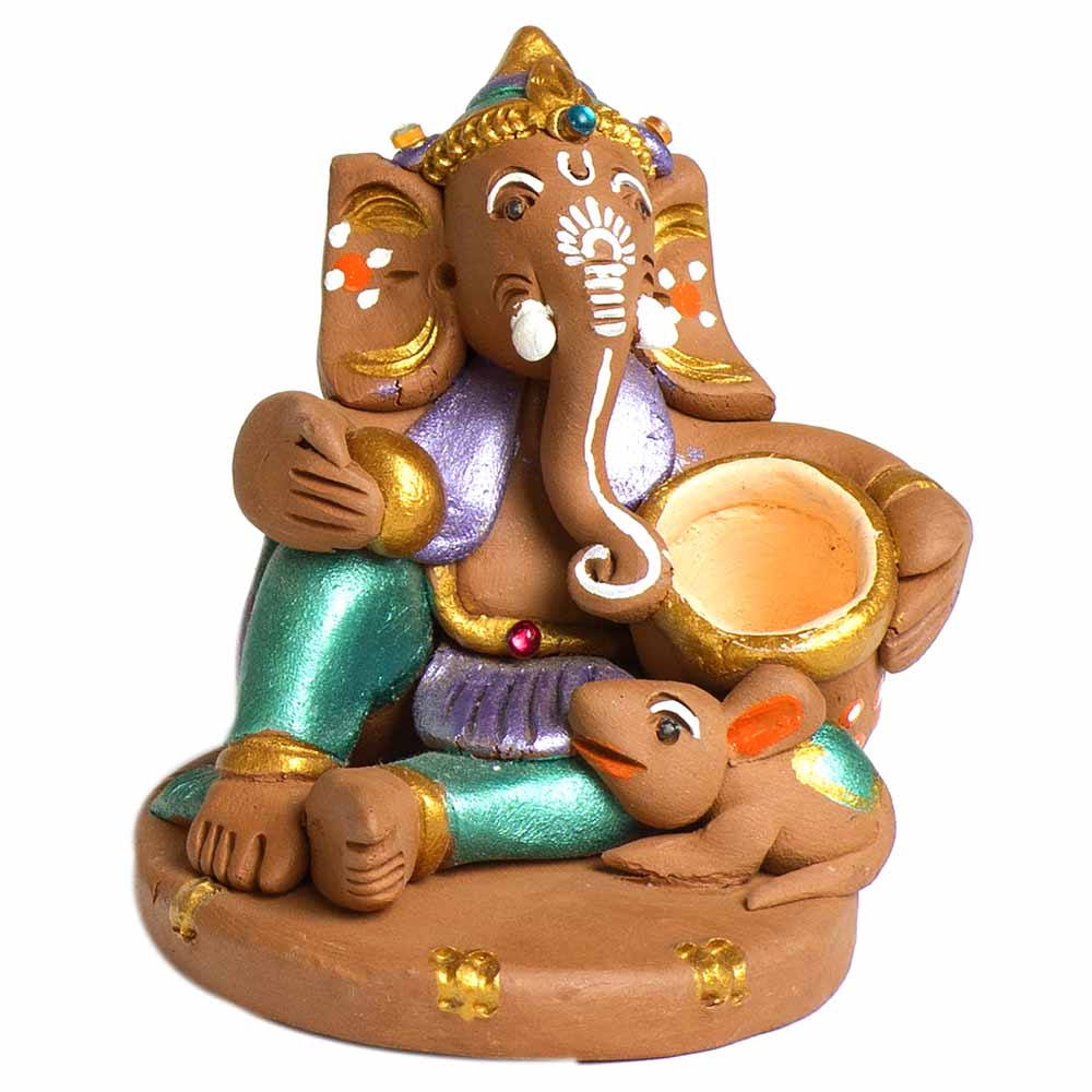 Broen & Green Terracotta Makhan Ganesh Showpiece