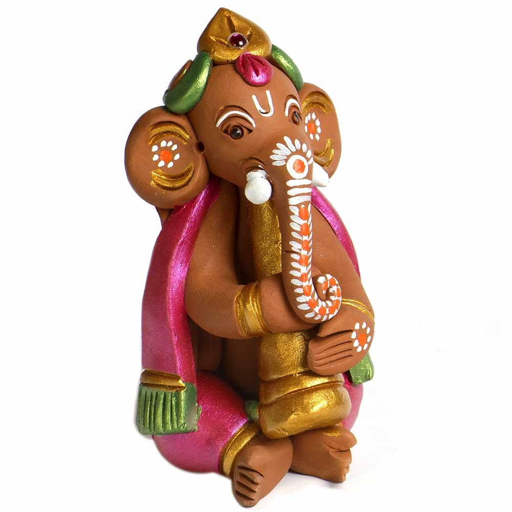 Brown & Pink Terracotta Sweet Ganesh Showpiece