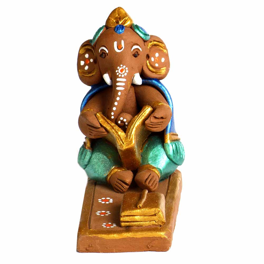 Multicolor Terracotta Sitting & Book Reading Ganesh Showpiece