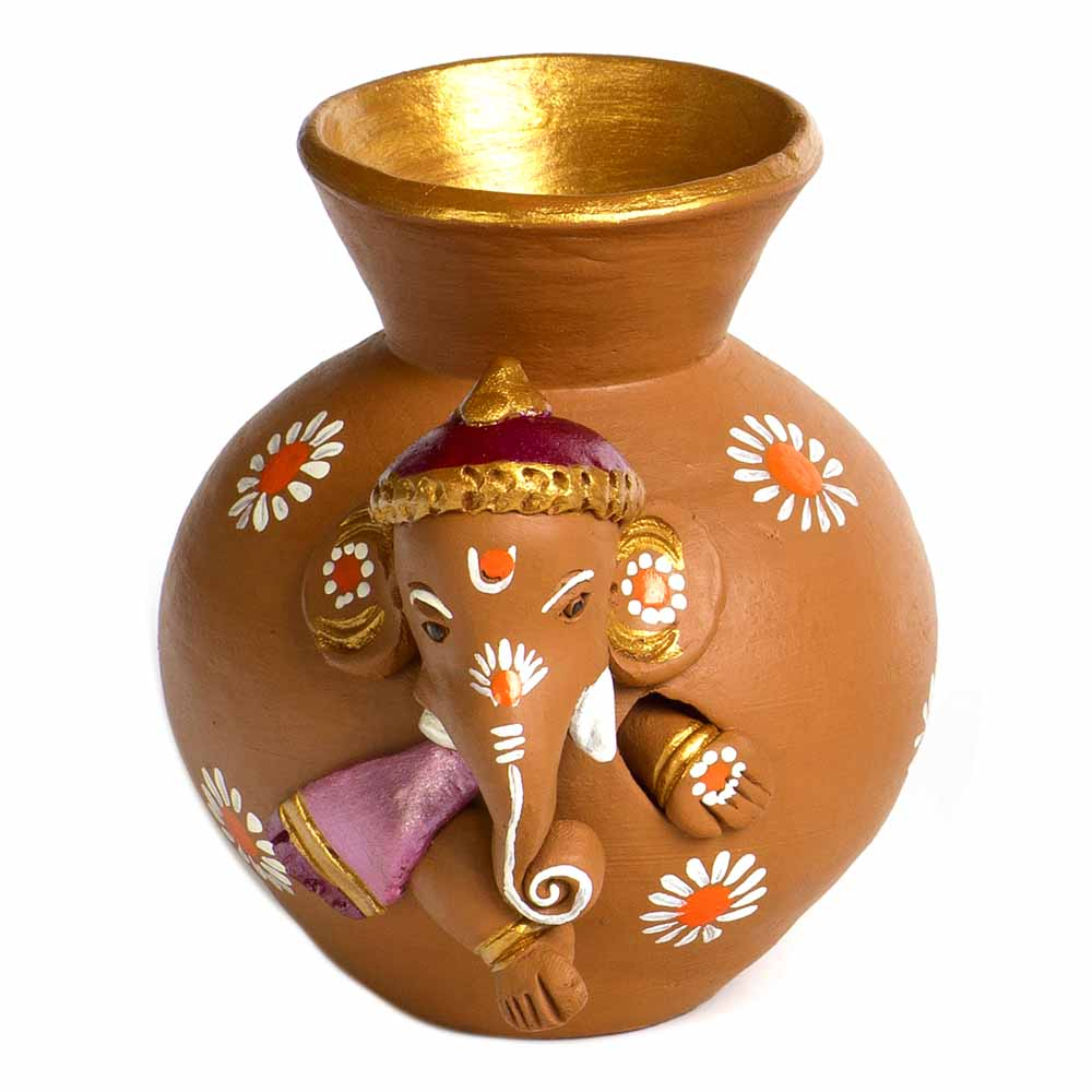 Brown & Mauve Terracotta Matki Shaped Vase
