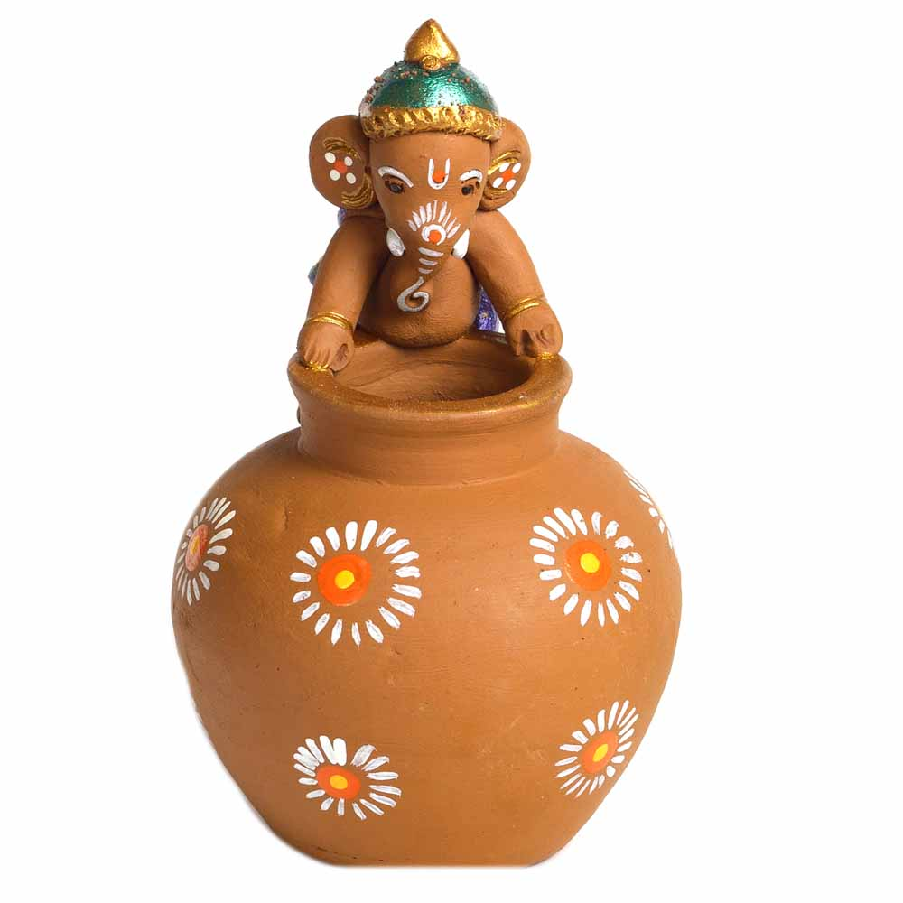 Multicolor Terracotta Ganesh with Matki Shaped Vase