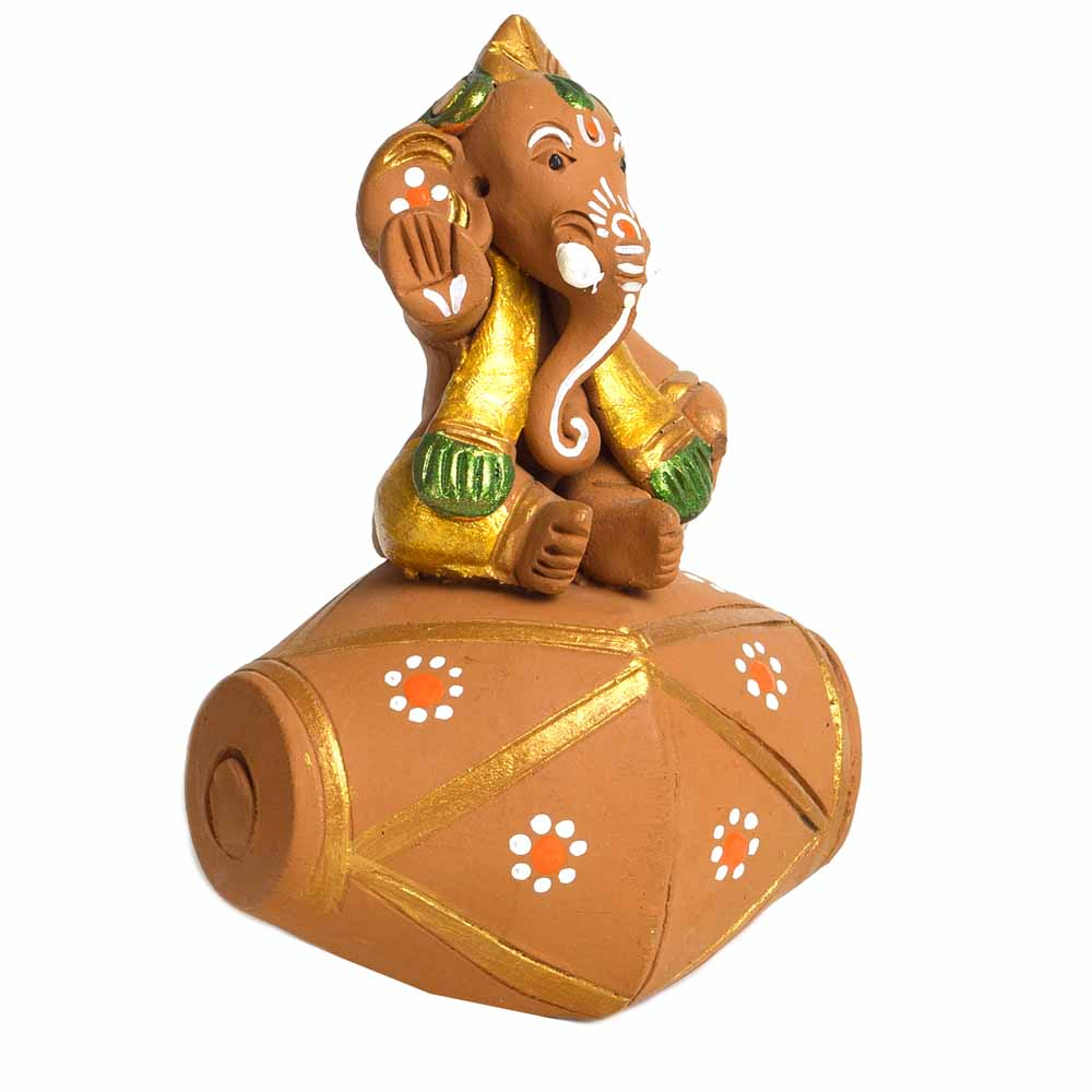 Terracotta-Multicolor Terracotta Ganesh with Dholak