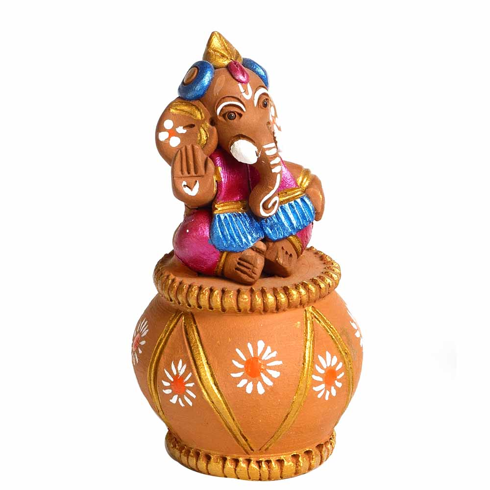 Terracotta-Multicolor Terracotta Sweet Little Ganesh Sitting on Matki