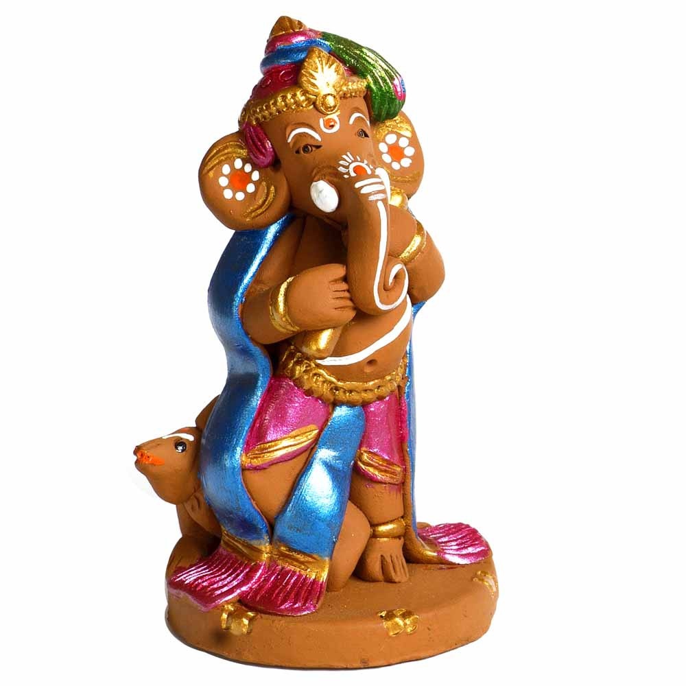 Terracotta-Multicolor Terracotta Ganesh with Mouse Showpiece