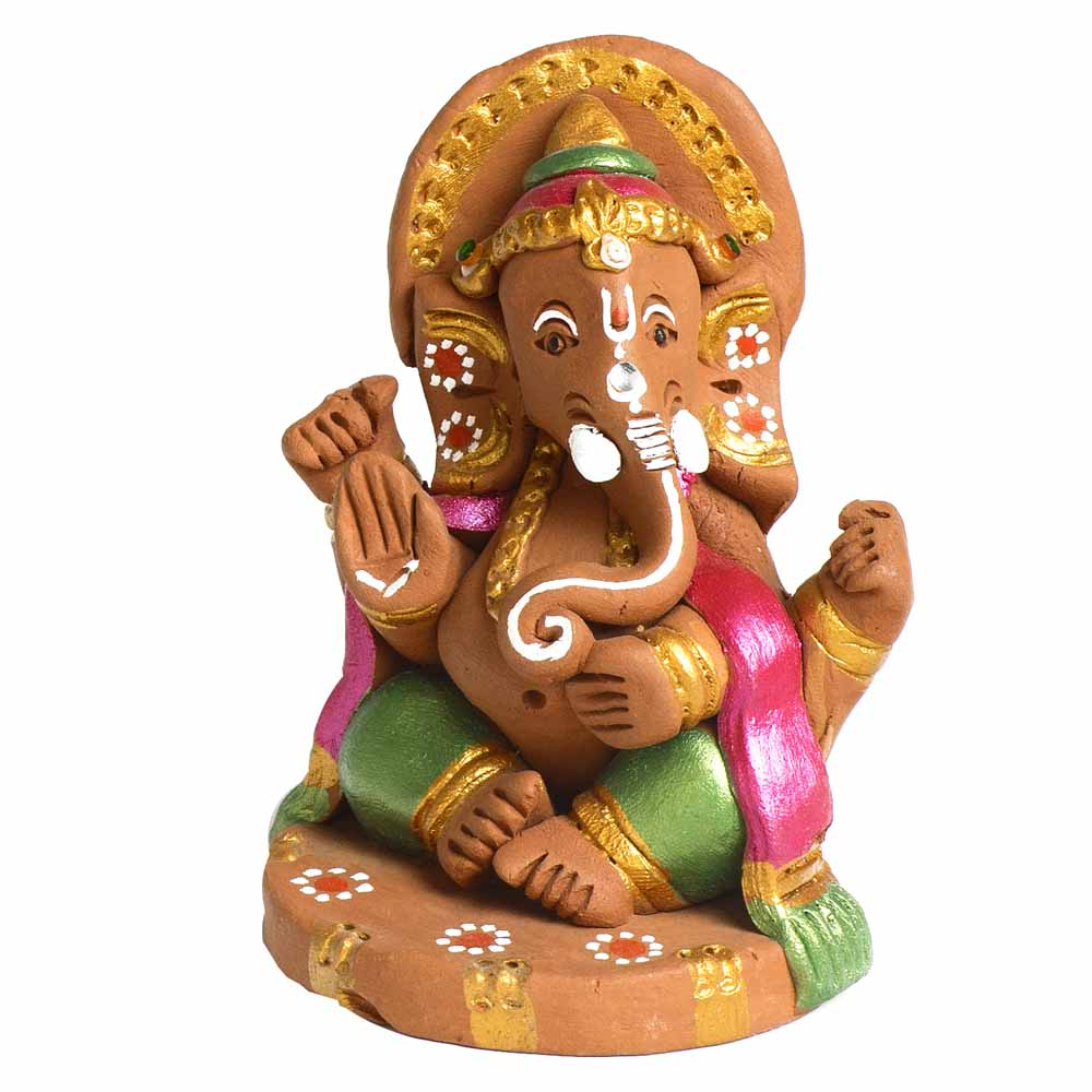 Terracotta Sitting Ganesh