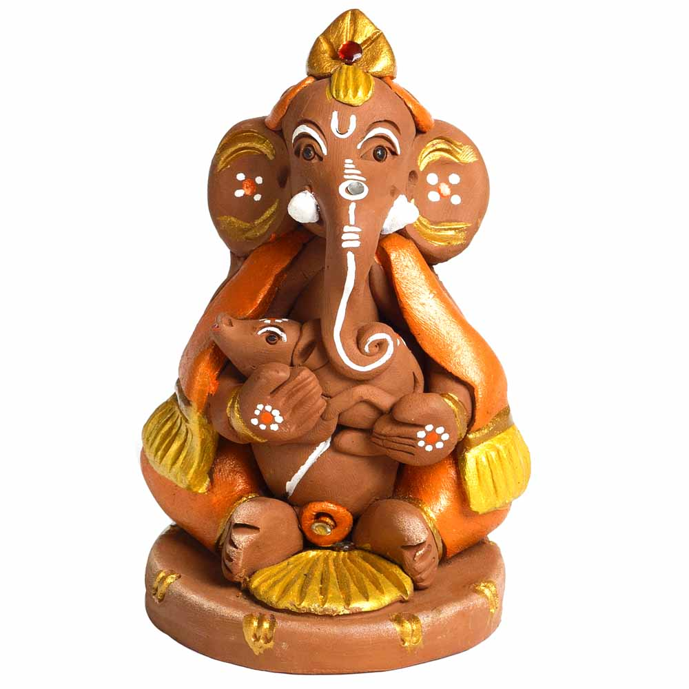Multicolor Terracotta Ganesh Holding Mouse Showpiece