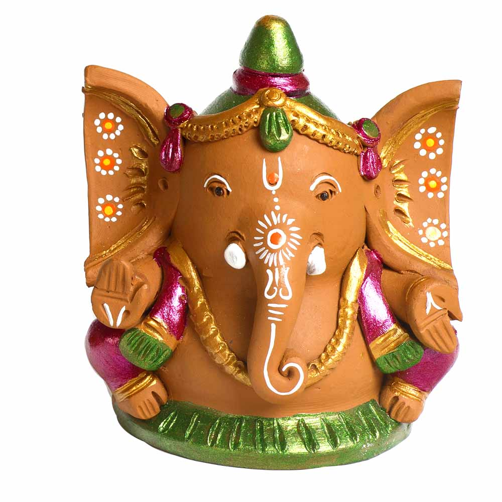 Multicolor Terracotta Big ear Ganesh Showpiece