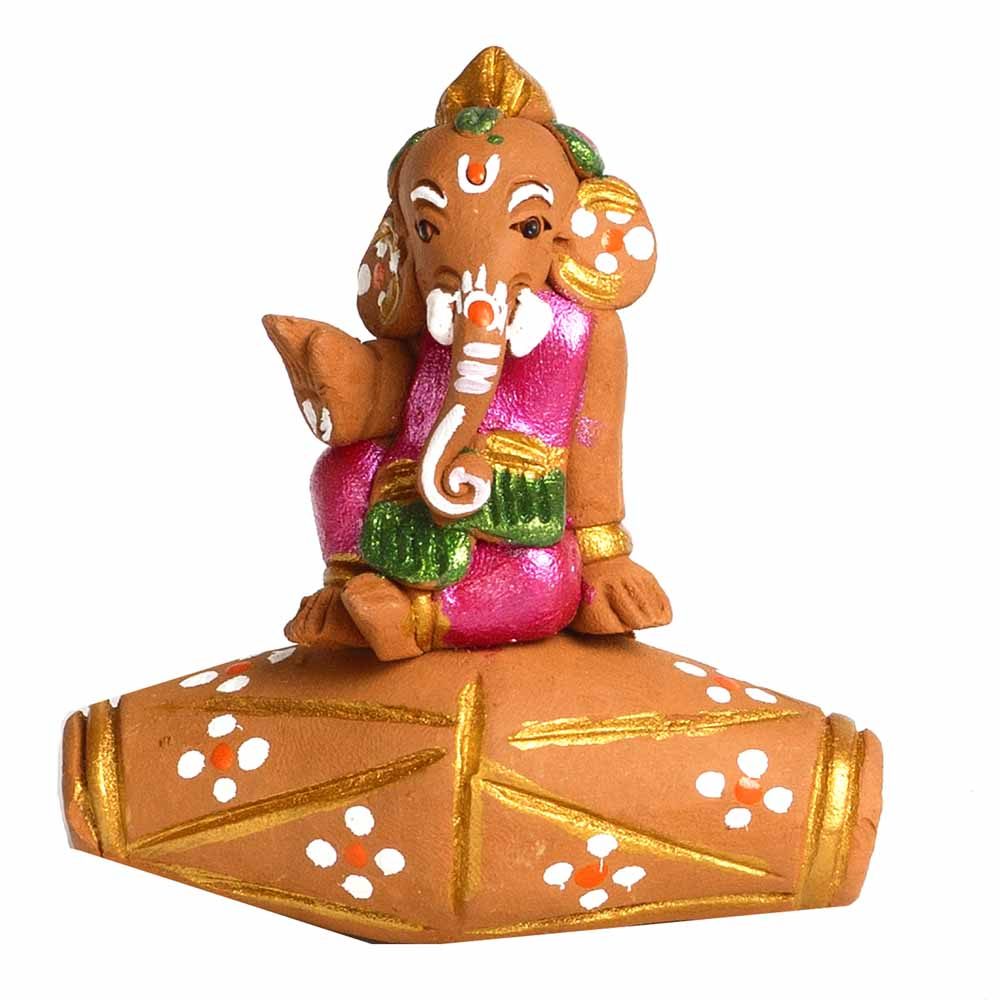 Multicolor Terracotta Ganesh sitting on Dholak Showpiece